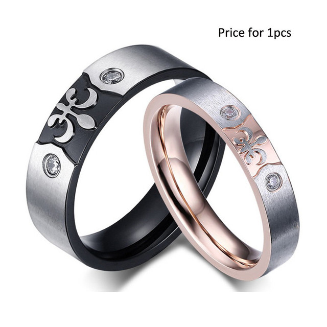 Vintage Cz Couple Ring For Women And Men Engrave Anchor Wedding Ring