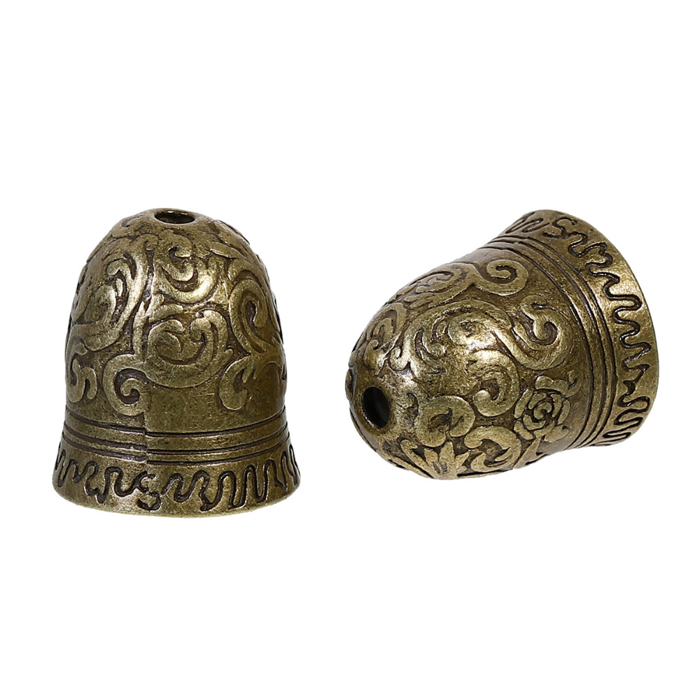 DoreenBeads Zinc Based Alloy Antique Bronze DIY Beads Caps Bell (Fit Beads Size: 16mm Dia.) 23mm( 7/8