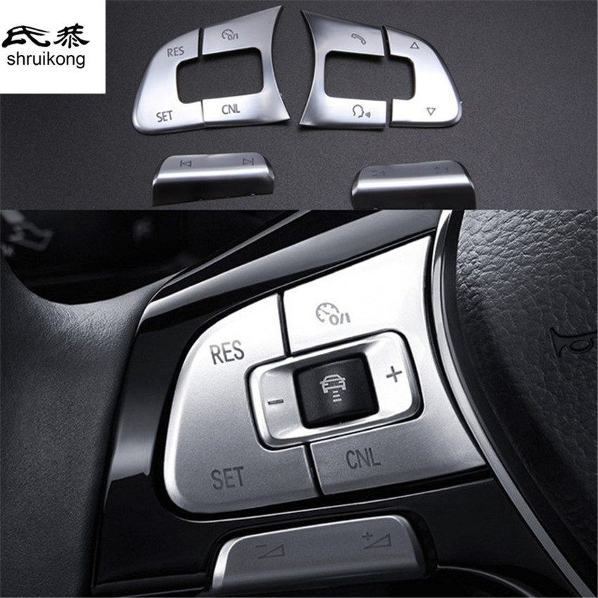 6pcs/lot car stickers ABS Steering wheel button decorative cover for 2016 2017 VW <font><b>Volkswagen</b></font> Passat B8 Variant Alltrack <font><b>GOLF</b></font> <font><b>7</b></font> image