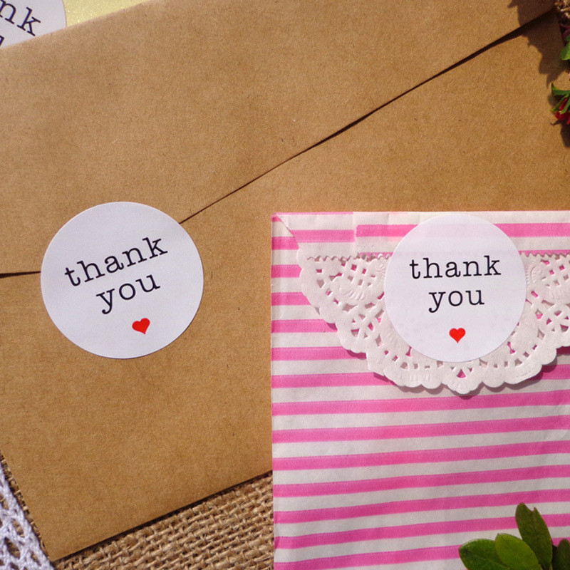 <font><b>120pcs</b></font> <font><b>Sticker</b></font> Thank You Handmade DIY Paper Label 3.8cm Red Heart Adhesive Gift Round Paper <font><b>Sticker</b></font> Party Favor Party Decoration image