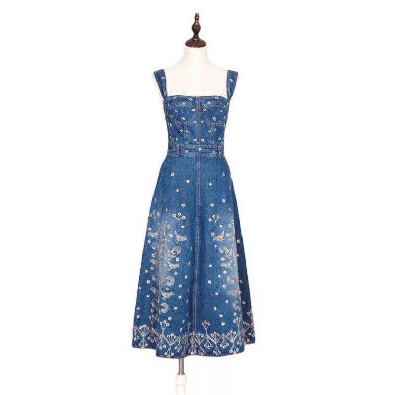 Dames Long Floral Sexy D'été Denim Haute Taille Bleu Maxi Femmes Kobykoyi Broderie Élégant Robes Robe SFd7qwx7fv