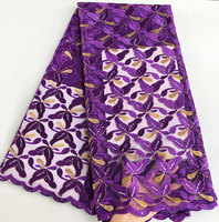 Purple Gold embroidery Beaded tulle lace french lace African lace fabric high quality unique 5 yards/PC wise choice