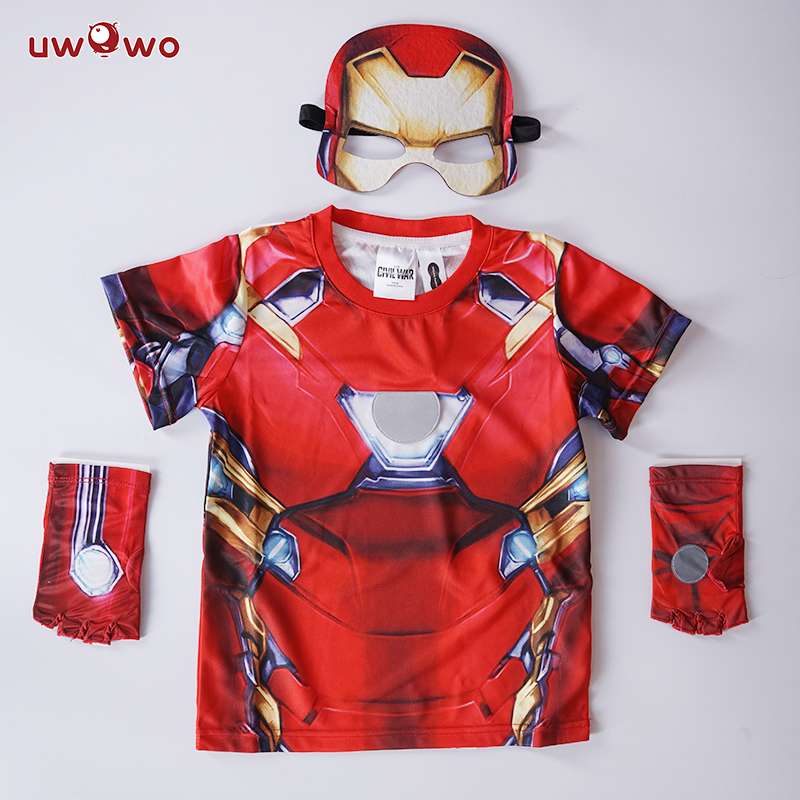 UWOWO Amine Iron Man Cosplay Costume Technology Fighter Party Game Halloween Anime Costumes for Kids