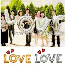 40 inch gold silver LOVE aluminum foil balloons large helium balloon party letters wedding decoration air