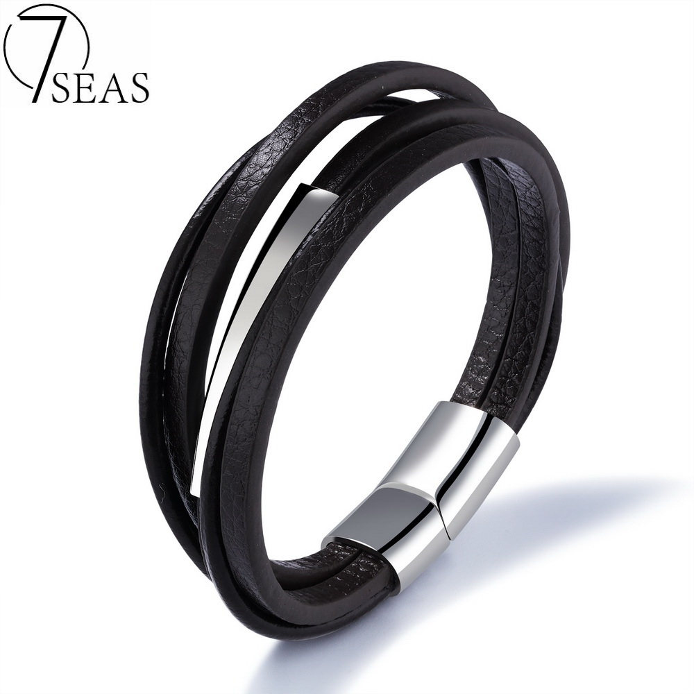 7SEAS Multilayer Genuine Leather Bracelets & Bangles Man Cool Pulses Bracelet Brown Color Cowhide Jewelry Free Shipping 7S1131