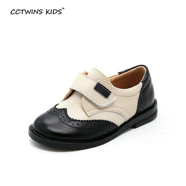 CCTWINS CRIANÇAS primavera do bebê do outono menino moda brown flats oxford para crianças pu sapato de couro marca menina sapatos casuais preto