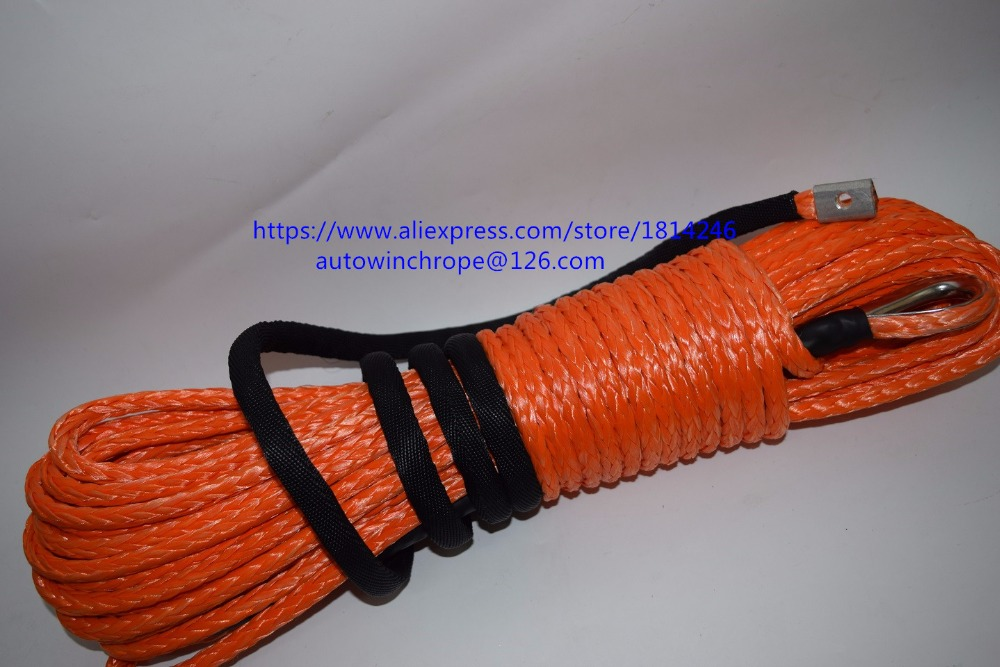 Orange 5/16*100ft Synthetic Winch Cable,Spectra Winch Rope,Off Road Rope,Replacement Winch Cable