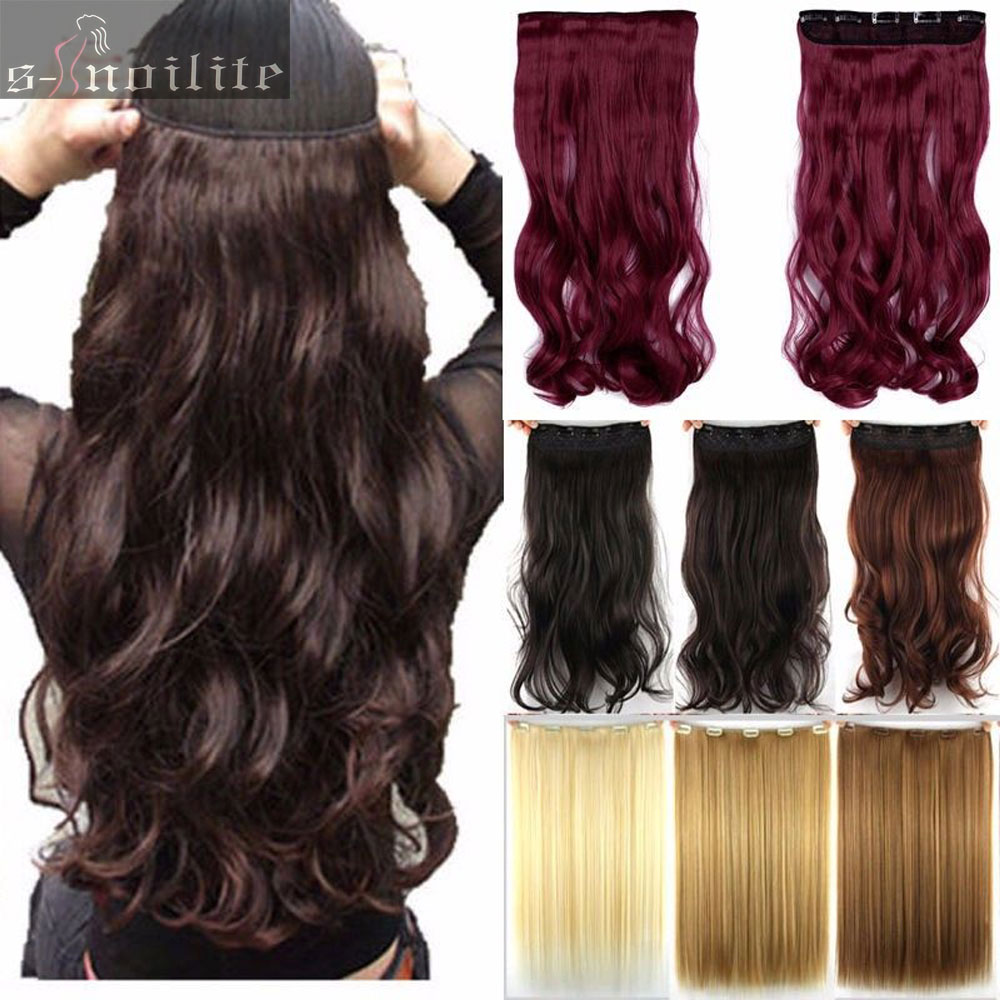Free shipping super long one piece 5 clips in hair extensions amazing curly wavy synthetic hair