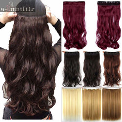 Free shipping super long one piece 5 clips in hair extensions amazing curly wavy synthetic hair.jpg 250x250