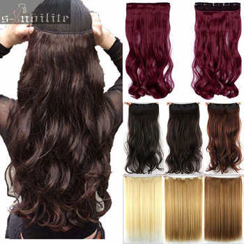 Free shipping super long one piece 5 clips in hair extensions amazing curly wavy synthetic hair.jpg 350x350