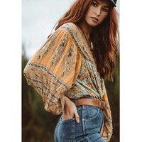 Boho Chic Summer Oversized Tops Vintage Floral Print Rayon Blouses Women 2018 Fashion Clothing Lantern Sleeve Loose Beach Shirts