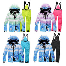 New Female Ski Wear Suit Thickening Warm Windproof Waterproof Skiing Suits Womens Winter Snowboard Clothing