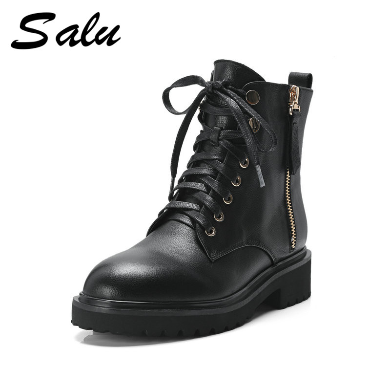 Salu autumn Women ankle Boots Genuine Leather Ladies Shoes Platform High Heels Fashion Female Booties universal smart remote control controller with learn function for tv dvd sat cbl drop shipping