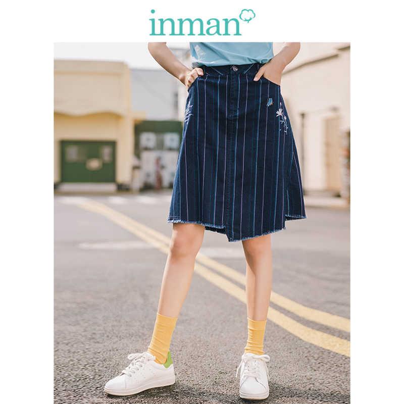 INMAN 2019 lato nowy nabytek literackie w paski haft nieregularne linii minimalizm szczupła kobiet krótkie spódnica
