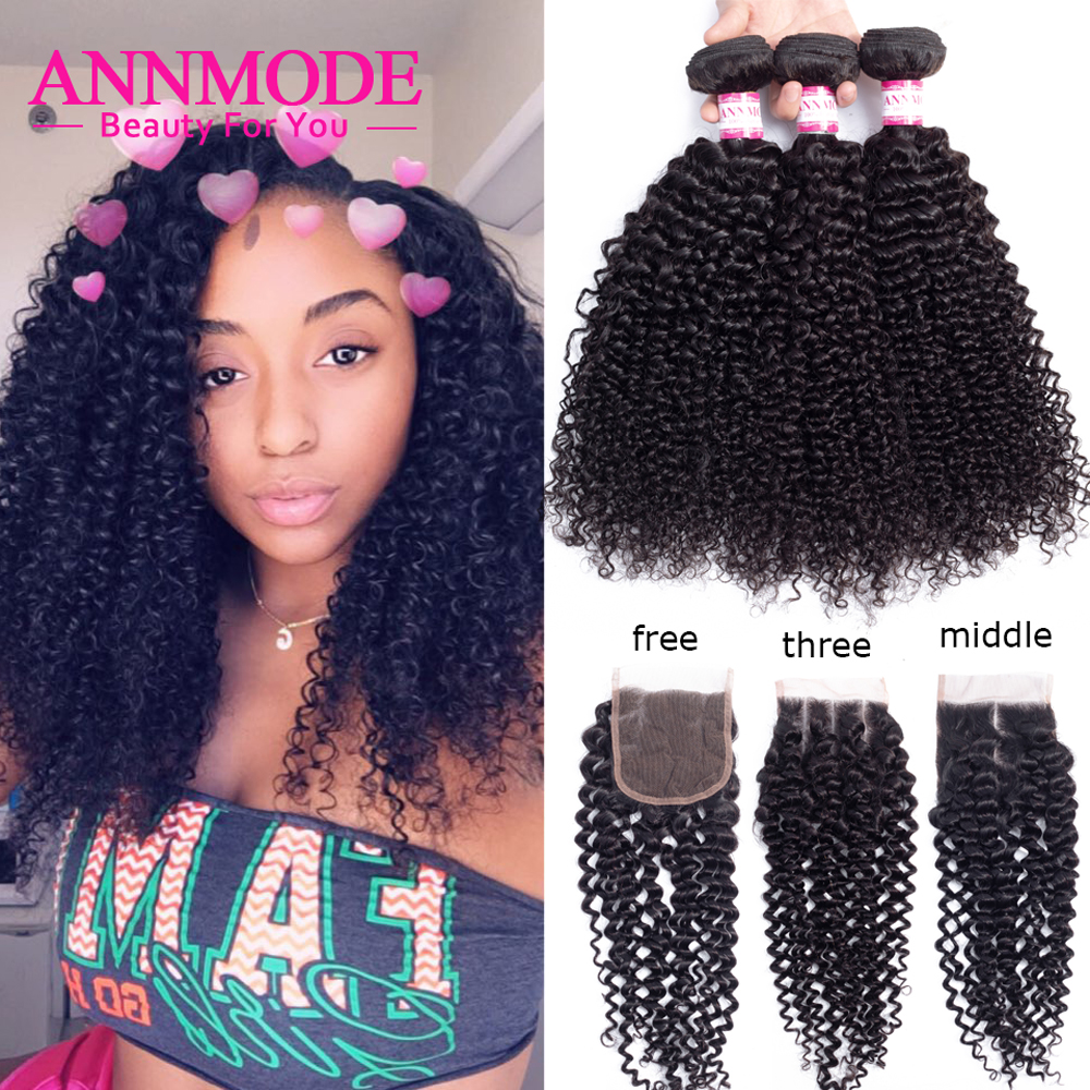 Brazilian Kinky Curly Bundles With Closure Human Hair Weave With Closure 3/4 Bundles Kinky Curly Hair Extension Non Remy Annmode(China)