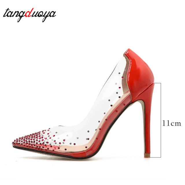 rhinestone high heels women pumps pointed toe thin heels pumps women shoes high heel shoes transparent heel tacones mujer