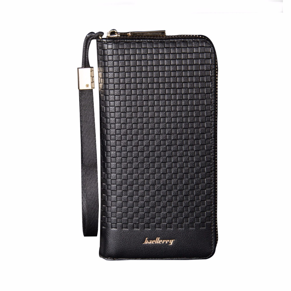 Retro Plaid Men Wallets Famous Brand Wallet Leather Men Purse Long Male Clutch Wallet Big Card Holder Carteira Masculina designer men wallets famous brand men long wallet clutch male money purses wrist strap wallet big capacity phone bag card holder