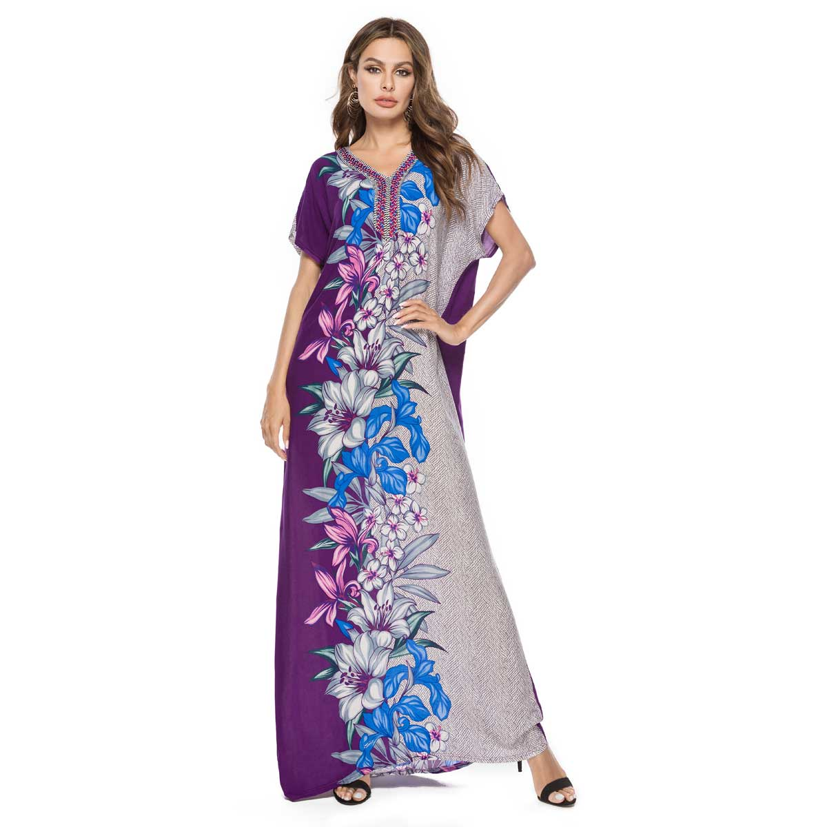 2019 Summer Women Floral Printed Bohemian Maxi Dress Short Sleeve Muslim Abaya Islamic Dubai Arabic UAE Robe Plus Size VKDR1553