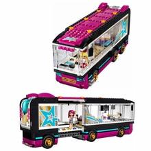684 Pcs 10407 Friends Pop Star Tour Bus Building Blocks 41106 Legoing Figures Bricks Toys for Children Model Gift