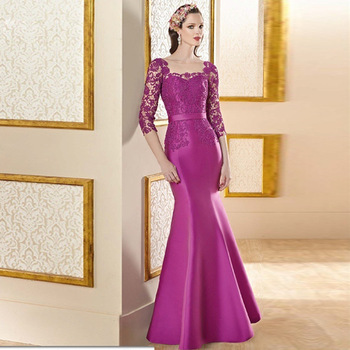 2019 Mother Of The Bride Dress 2018 Vestido Madre Novia Mermaid Mother Dress Satin Appliques Purple Elegant Cheap Evening Gown