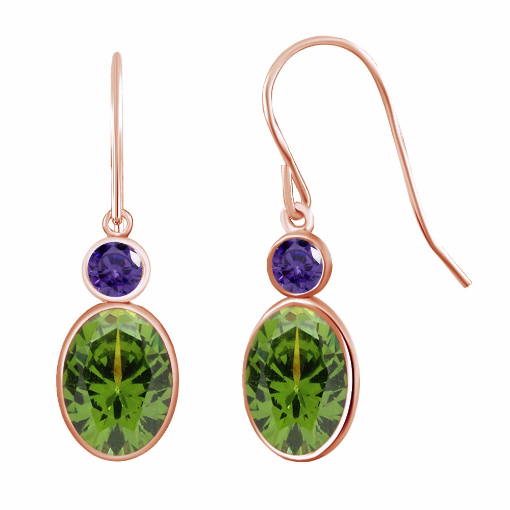 2.86 Ct Oval Green Peridot & Purple Stone Rose Gold-colored Over Dangle Earrings gold plated stone asymmetry dangle earrings