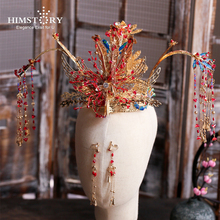 HIMSTORY Chinese Traditional Phoneix Coronet Bridal Headdress Large Long Tassels Hairpin Butterfly Stage Wedding Hair  Jewelry himstory luxurious vintage chinese traditional wedding jewelry adorn queen tibetan style pageant phoneix coronet tiaras