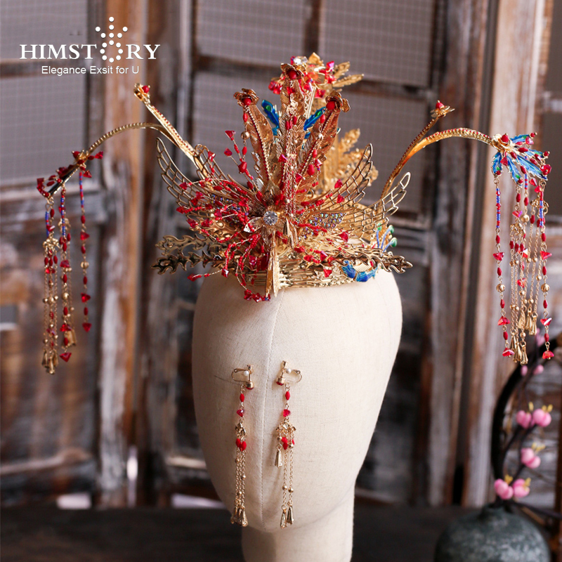 HIMSTORY Chinese Traditional Phoneix Coronet Bridal Headdress Large Long Tassels Hairpin Butterfly Stage Wedding Hair Jewelry
