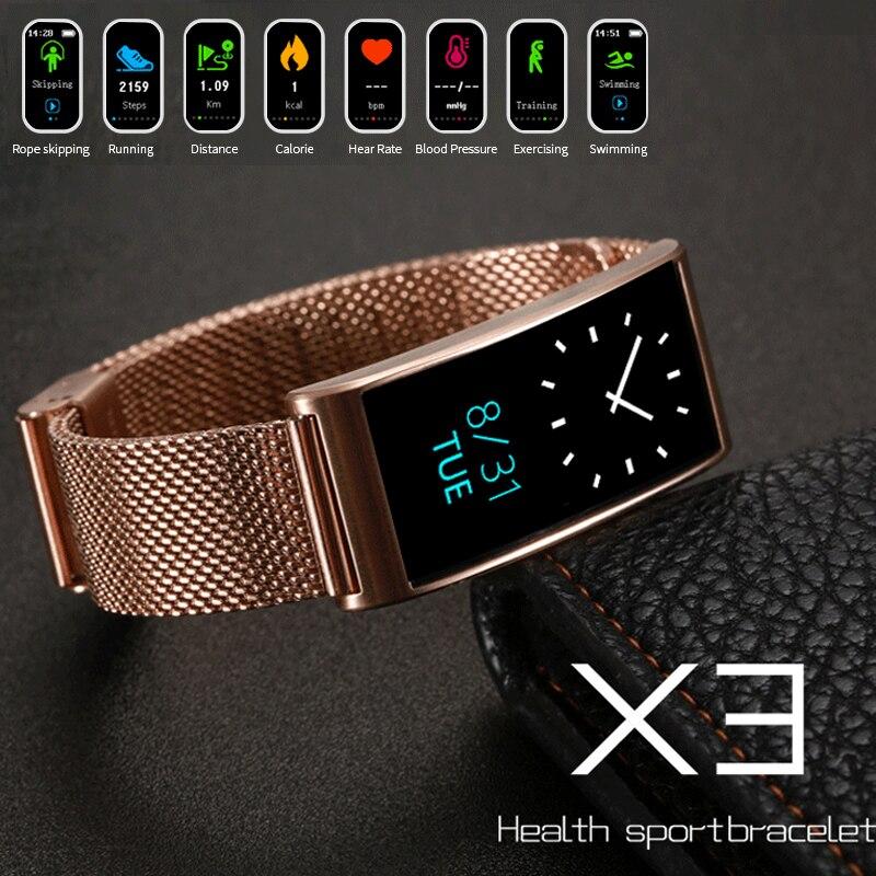 Новый Smart Браслет спортивные часы Bluetooth Для женщин X3 наручные Для мужчин Водонепроницаемый IP68 сердечного ритма Мониторы шагомер Фитнес трек...