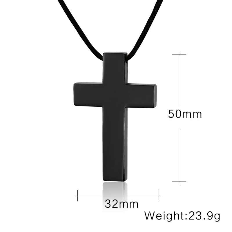 Classic Black Cross Pendant with Rope Chain Necklace Stainless Steel Men's Jewelry Simple Style Crucifix Choker Colar Kolye 20""
