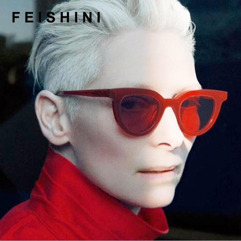 fe618e4cfdbe4 Feishini moda futuro transparente color Corea gafas claro gafas Oculos  hombres plástico barato Oversized gafas de sol mujer UV400