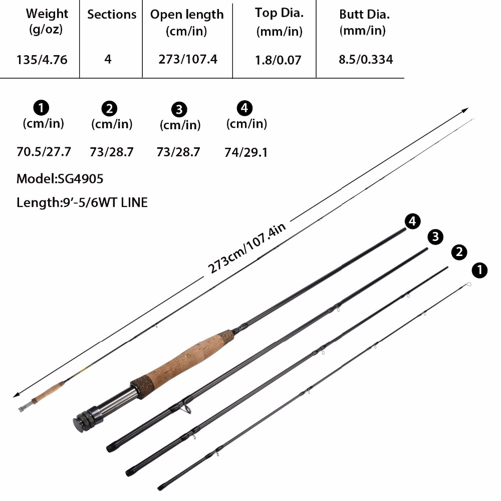 1pcs Fly Fishing Rod 2.7M 9/' Fly Rods 3//4# 5//6# 7//8# 4 Sections Fishing Tackle