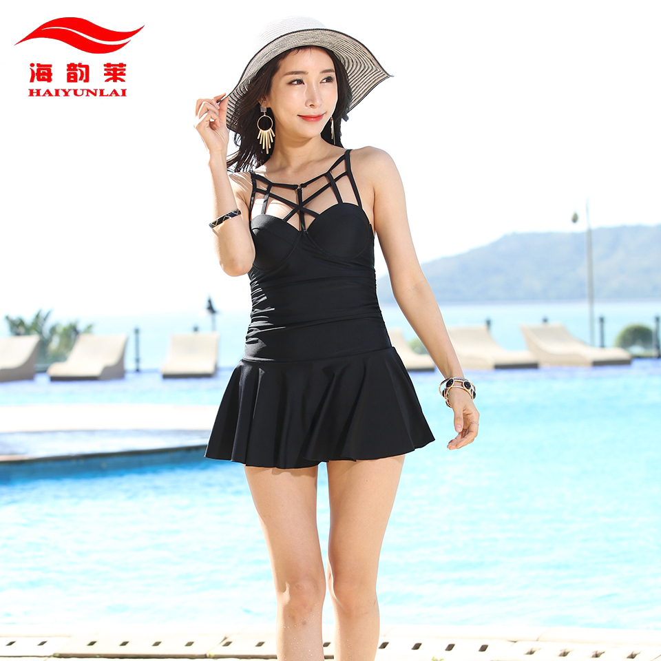 trikini one piece swimsuit dress solid black red bathing suits push up women swimwear swimming. Black Bedroom Furniture Sets. Home Design Ideas