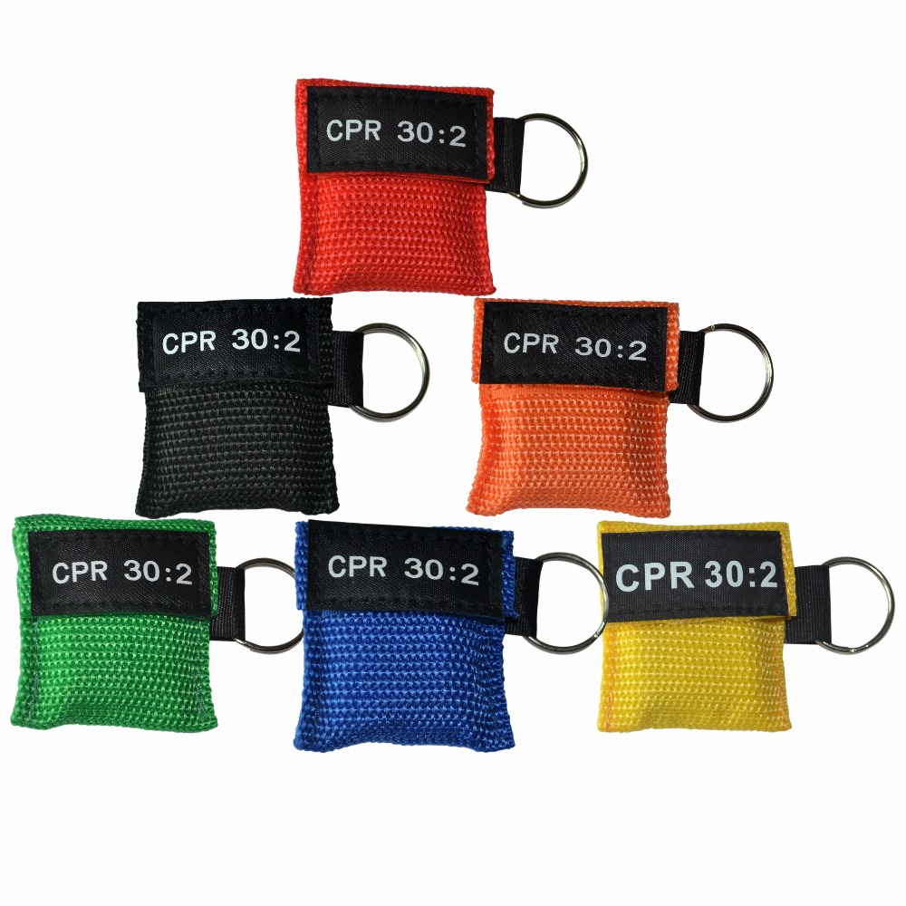 100Pcs/Pack CPR Resuscitator Mask 30:2 CPR Rescue Face Shield With Key Ring For First Aid Training 6 Colors Can Be Chosen 6 pack face