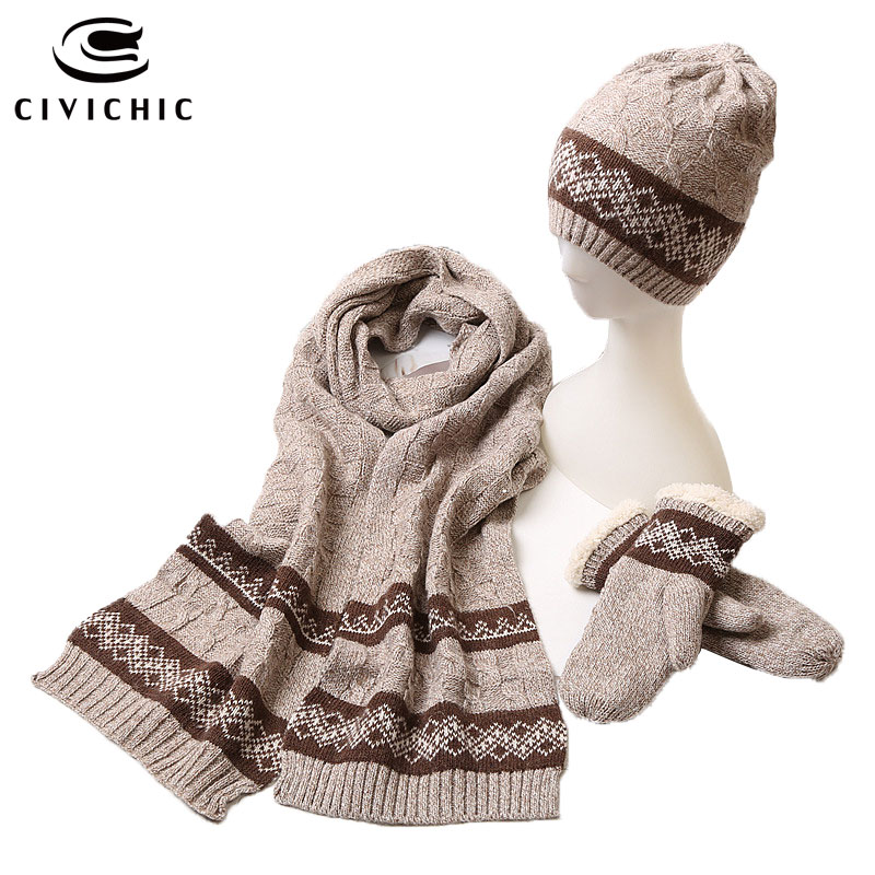 CIVICHIC Men Women Lovers Couple Stylish Autumn Winter Warm Knit Gloves Hat Scarf 3 Piece Set Crochet Headwear Thick Shawl SH132