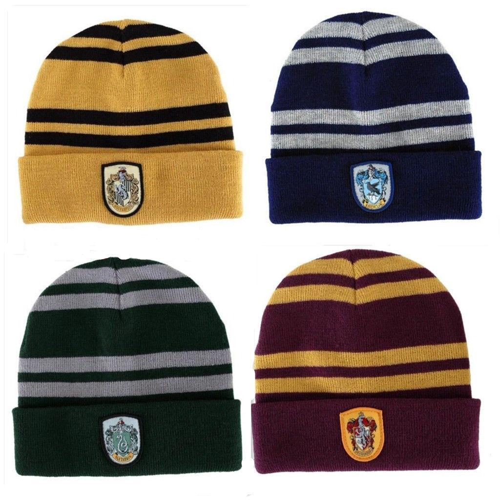 Harri Potter Hogwarts Beanie Hat Winter Gryffindor/Hufflepuff/Slytherin/Ravenclaw Warmth Cap Deathly Hallows New