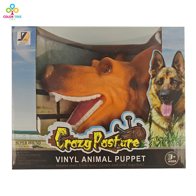 Quality Soft Vinyl PVC Animal Head Figure Dog Hand Puppet Gloves Children Toy Model Gift