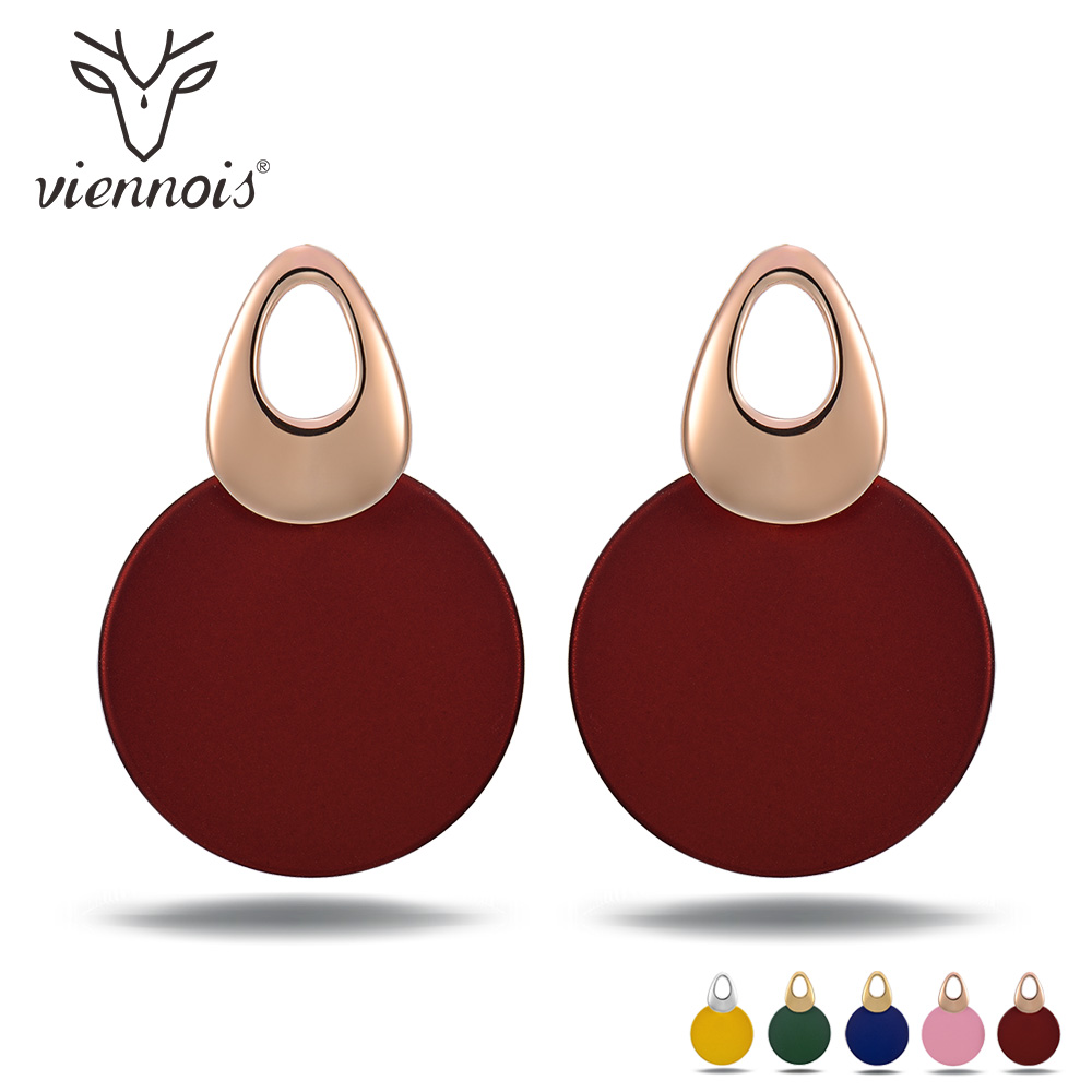 Viennois Fashion Jewelry Blue & Red Dangle Earrings for Woman Rose Gold Color Earrings Trendy Round Earrings pair of trendy filigree rose gold rhinestone leaf fringe earrings for women