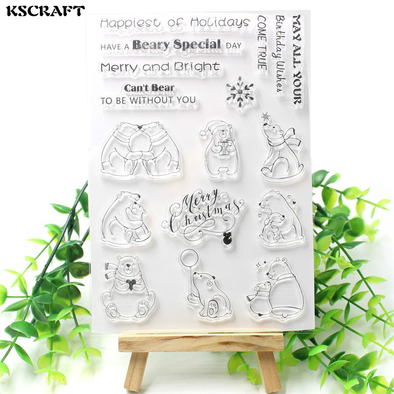 KSCRAFT Cute Bears Transparent Clear Silicone Stamps for DIY Scrapbooking/Card Making/Kids Christmas Fun Decoration Supplies kscraft butterfly and insects transparent clear silicone stamps for diy scrapbooking card making kids fun decoration supplies