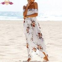 Bohemian Floor Length Print Beach Dress Off Shoulder Women Summer Sundress Long Floral Split Irregular Backless