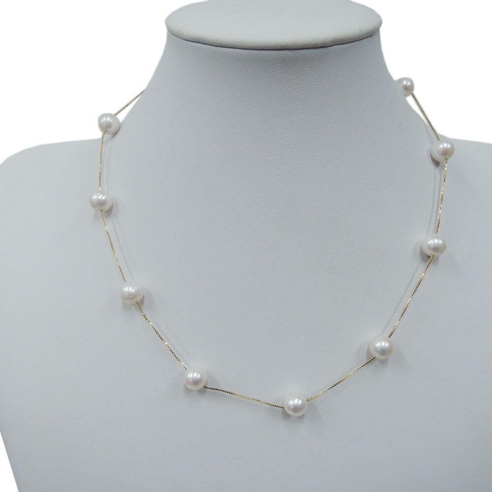 100% collier de perles d'eau douce NATURE populaire-perle d'eau douce de haute qualité, argent 925 avec placage en or blanc