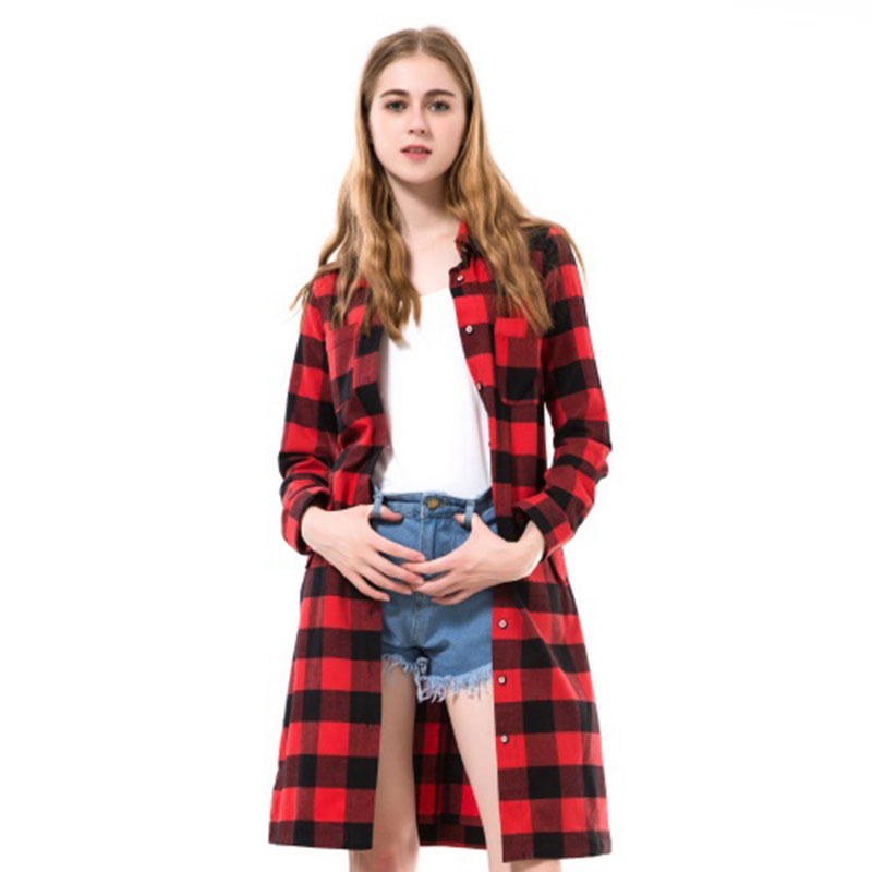 Buy dioufond hot red plaid long blouse Womens red plaid shirts blouses