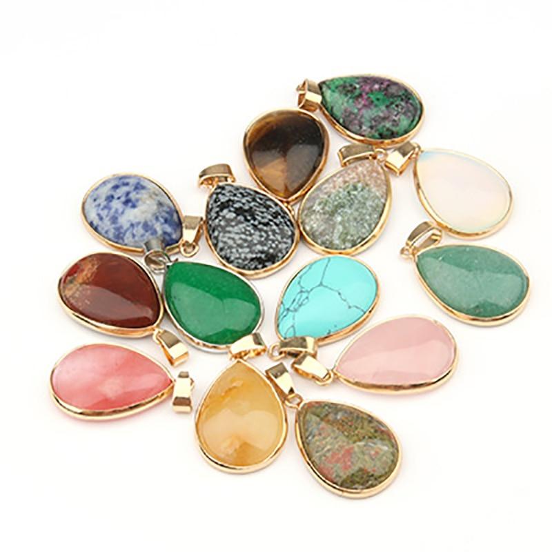 Pingente de pedra natural água gota forma pingentes ágata/rosequartz/tigre olho encantos para colares jóias que fazem 3.5*2.4*0.7cm
