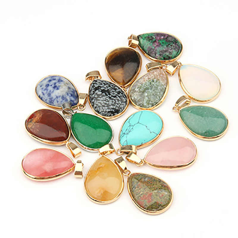 Natural Stone Pendant Water Drop Shape Pendants Agates/ RoseQuartz/Tiger Eye Charms for Necklaces Jewelry Making 3.5*2.4*0.7cm