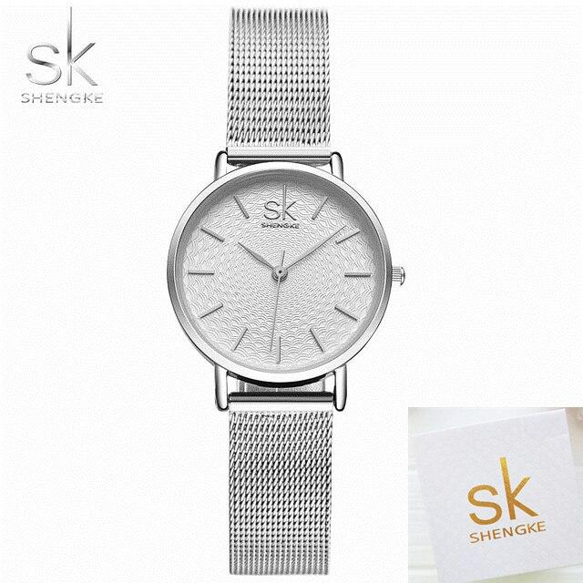 SK женские часы Серебристая Сетка часы из нержавеющей стали женские лучший бренд класса люкс повседневные часы женские наручные часы женски...