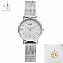 SK Women Watch Sliver Mesh Stainless Steel Watches Women Top Brand Luxury Casual Clock Ladies Wrist Watch Lady Relogio Feminino shengke super slim women watches stainless steel sliver mesh band clock brand luxury casual female wrist watch relogio feminino