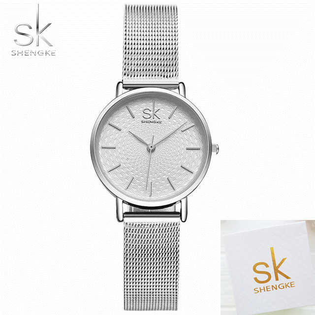 SK Women Watch Sliver Mesh Stainless Steel Watches Women Top Brand Luxury Casual Clock Ladies Wrist Watch Lady Relogio Feminino