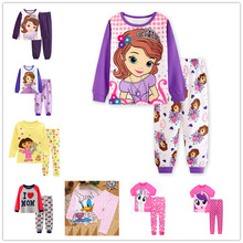 Baby girls Sleepwear Pyjama Minnie princess Pajamas Set Kids home wear Cartoon Long Sleeves Nightgown Cotton Sleepwear children sleepwear kids pyjama set boys pajamas for girls set 2019 spring nightgown sleepwear short sleeves pajamas long sleeves