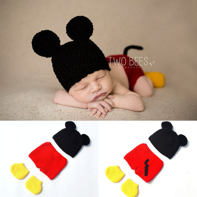 Newborn Mickey Photo Props Baby Infant Boy Mickey Hat Diaper Cover   Shoes  Outfit Newborn Cartoon Photography Props H284 659a59431a8