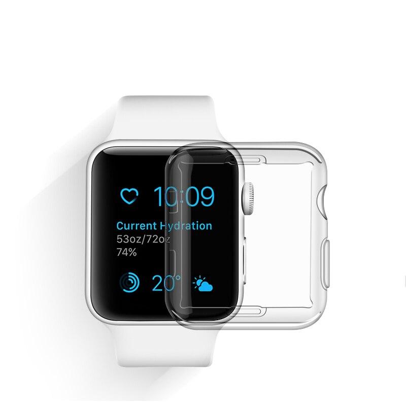 Caso transparente para apple assistir série 6 se 38mm 44mm 360 completa clara tpu macio protetor de tela para iwatch capa 5 4 3 40mm 42mm