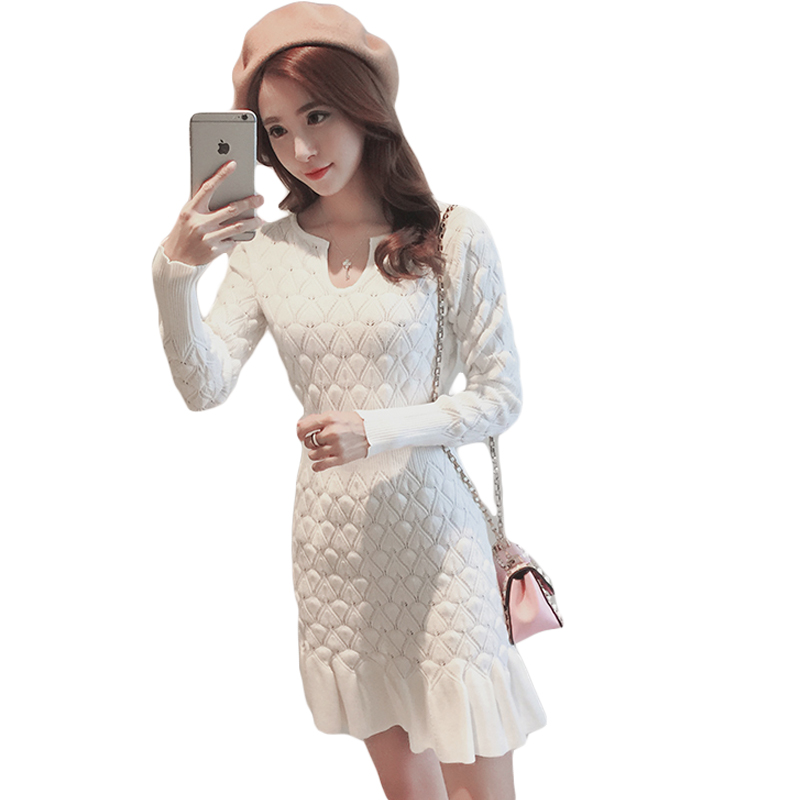 Women Winter Sexy Dress Long Sleeve Thicken Party Slim Fit Package Hip Hedging Knitted Sweater Dresses For women Hot Sale CM2117